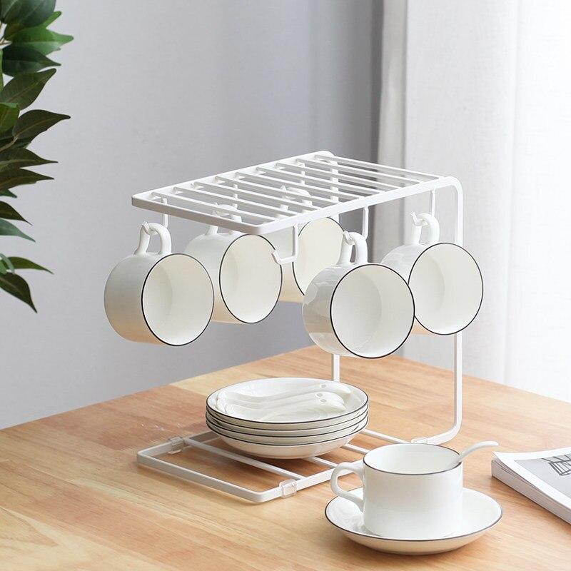 Colgador múltiple artístico para tazas de café, organizador de té de cristal, organizador de cocina, organización de almacenamiento