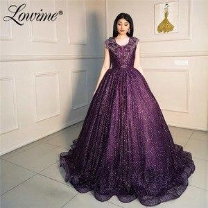 Glitter Purple Prom Dresses A-Line Dubai Evening Dresses 2020 Robe De Soiree Arabic Party Dress For Weddings Abendkleider