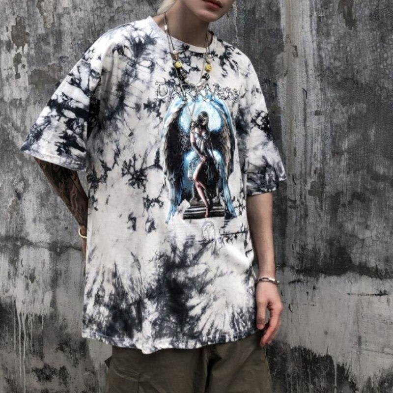 Hip-hop Men's T-shirt Wings Printed Tie-Dye Fashion Brand Clothing Harajuku High Quality Short-Sleev