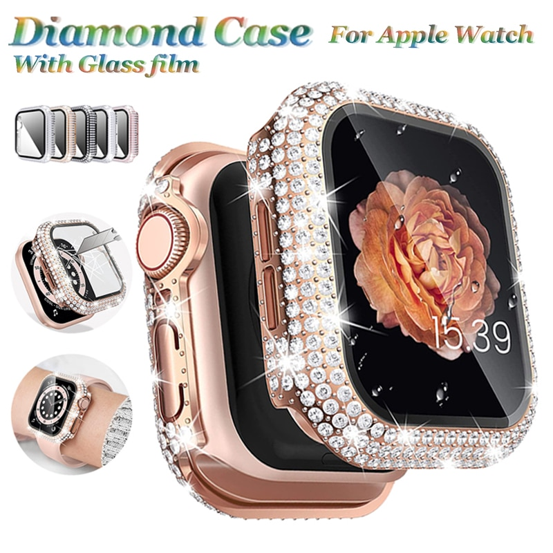 glass cover for apple watch case 6 se 5 4 3 2 1 iwatch 42mm 38mm bumper tempered glass for apple watch 44mm 40mm 42mm 38mm Watch Case +Tempered Glass for Apple Watch Cases 44mm 38mm 40mm 42mm Full Rhinstone Bumper for iWatch Series 6 SE 5 4 3 2 Cover