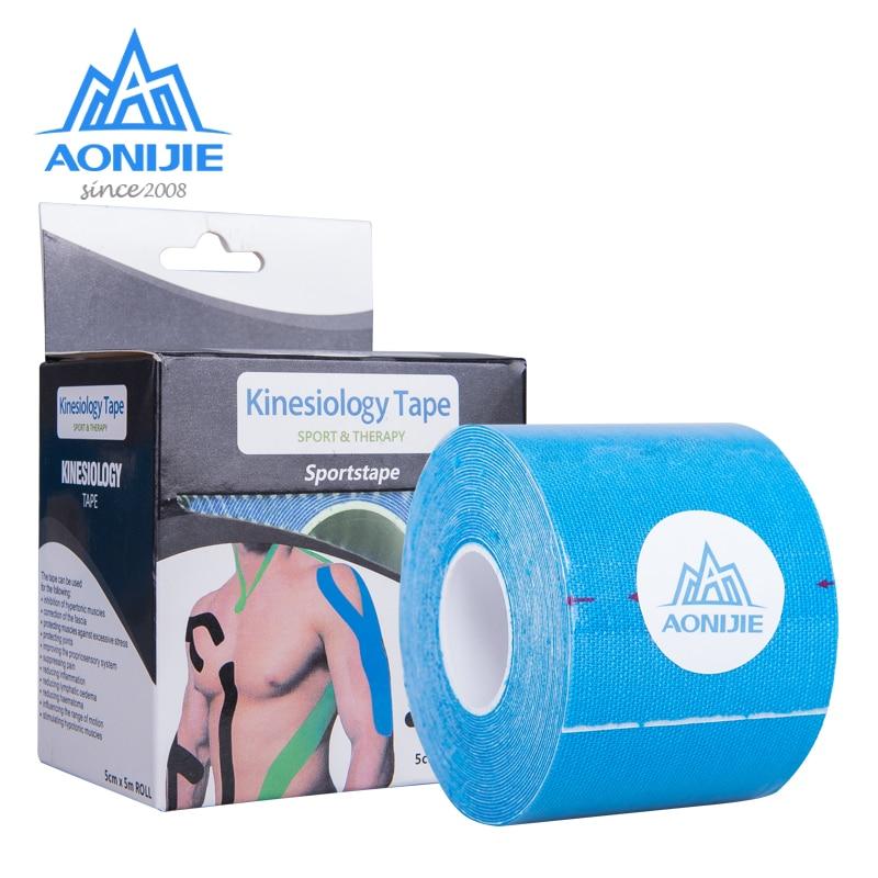AONIJIE elástico Kinesiología deporte vendaje 5m * 5cm cinta rollo deportivo físico músculo protección tensión apoyo de lesiones gimnasio E4112
