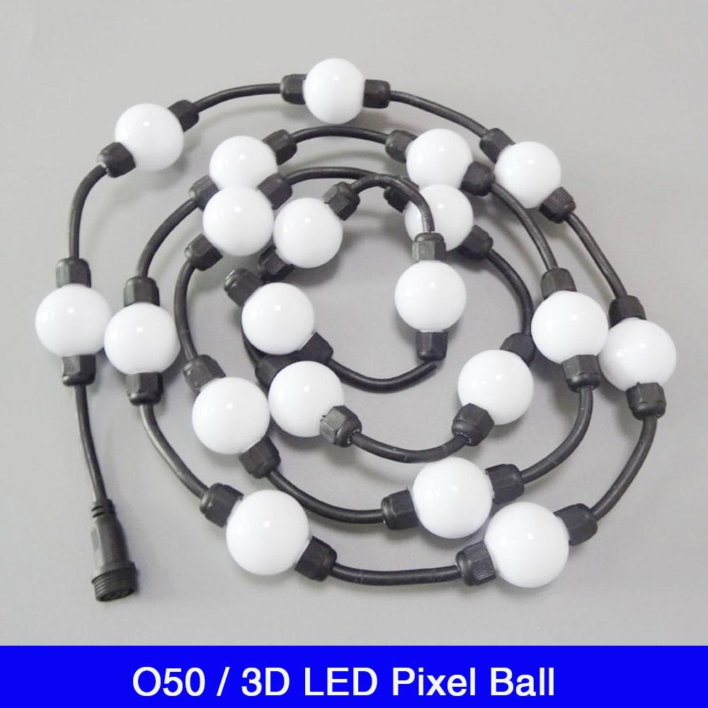 Venta al por mayor personalizado DC24V a todo Color 6Leds/Uds 360 grados 50mm DMX 3D Pixel RGB LED bola de luz cadena DC24V 1,4 W UCS1903