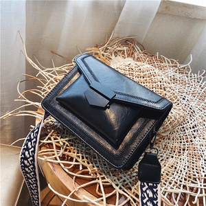 Small Square Bags For Women Messenger Bag 2021 Wide Shoulder Strap Handbag Casual Wild Lady Shoulder Bag Cross Body Female Bag