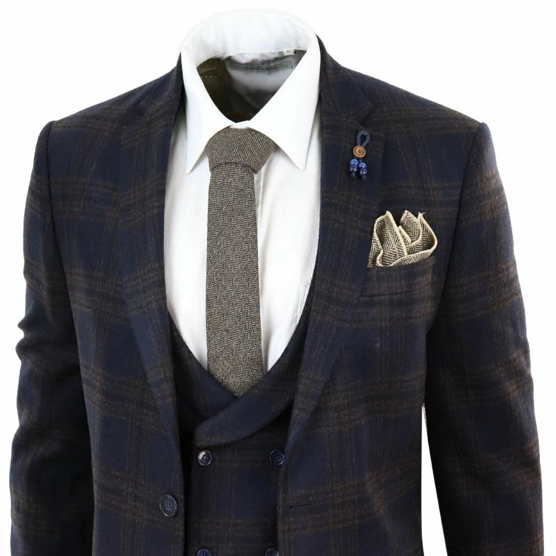 2020 Handsome Mens Suits Wool Blend 3 Piece Navy Blue Costume Homme Tweed Check Peaky Blinders Suit