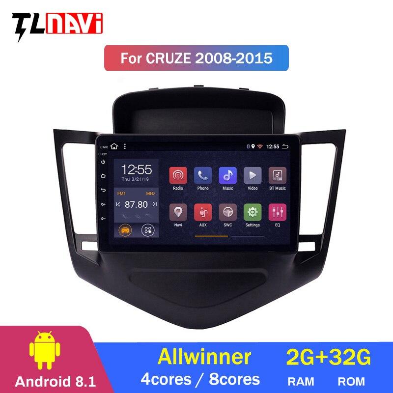 2.5D + IPS Android 8,1 coche Radio reproductor de DVD Multimedia para Chevrolet Cruze 2009-2013 navegación gps con dirección rueda