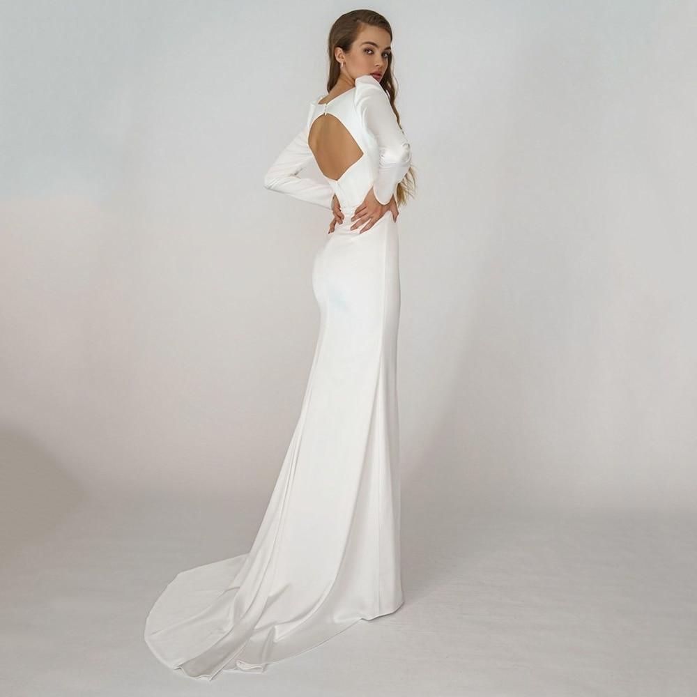 Review Princess Mermaid Satin Wedding Dresses Simple Sweetheart Long Sleeves Bridal Gowns Open Back Brides Dress Vestido De Novia 2021