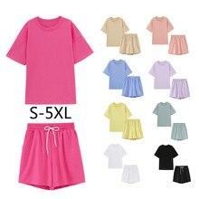 S-5XL été survêtements femmes deux pièces ensemble loisirs tenues coton surdimensionné T-shirts taille haute Shorts couleur bonbon vêtements