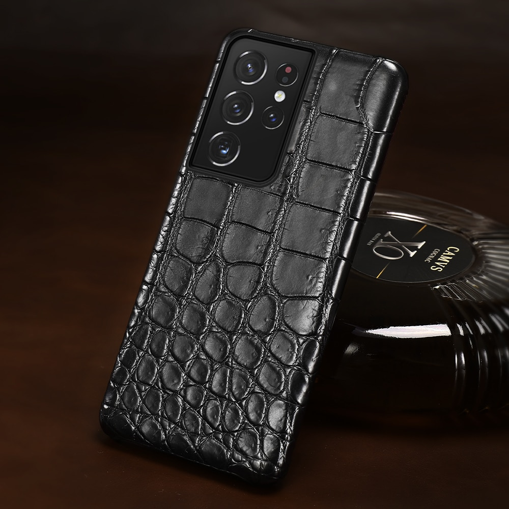 Natural Crocodile Leather Matt Phone Cover Case for Samsung Galaxy S21 Ultra S20 FE S10 S21 Plus Note 20 Ultra A71 A72 A51 A52