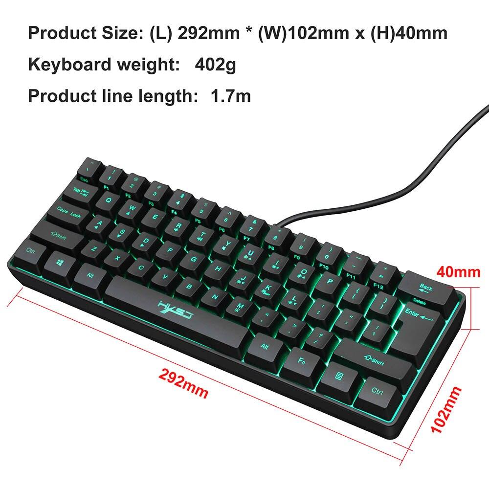 V700 السلكية لوحة المفاتيح 61 مفاتيح الألعاب لوحة المفاتيح RGB لوحة المفاتيح الخلفية للاعبين لوحات المفاتيح لعبة السلكية لوحات المفاتيح للكمبيو...