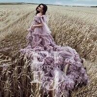 romantic lavender tulle maternity dress v neck long train high quality customized pregnancy dress robe femme