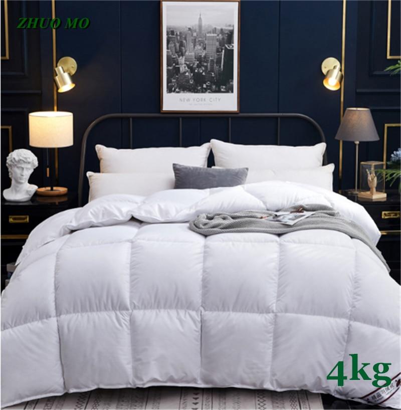 لحاف شتوي سميك ، 4 كجم ، 200 × 230 سنتيمتر ، سرير كينج للرجال والنساء ، 100% قطن ، فندق ، منزل ، كوين ، كينج ، مقاس كينغ ، 6 ألوان دافئة ، هدية