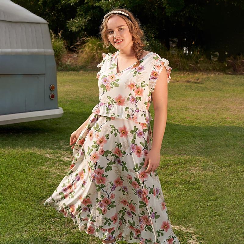 Plus Size Women's Summer Dress 2021 Fairy Ruffle Floral High Waist 4XL Skirt V Neck Dress Length Casual Streetwear plus button front smocked waist floral dress