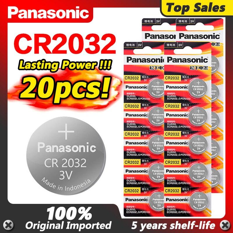 20 pièces marque dorigine pour PANASONIC cr2032 DL2032 ECR2032 5004LC KCR2032 BR2032 3v pile bouton piles au lithium pour montre