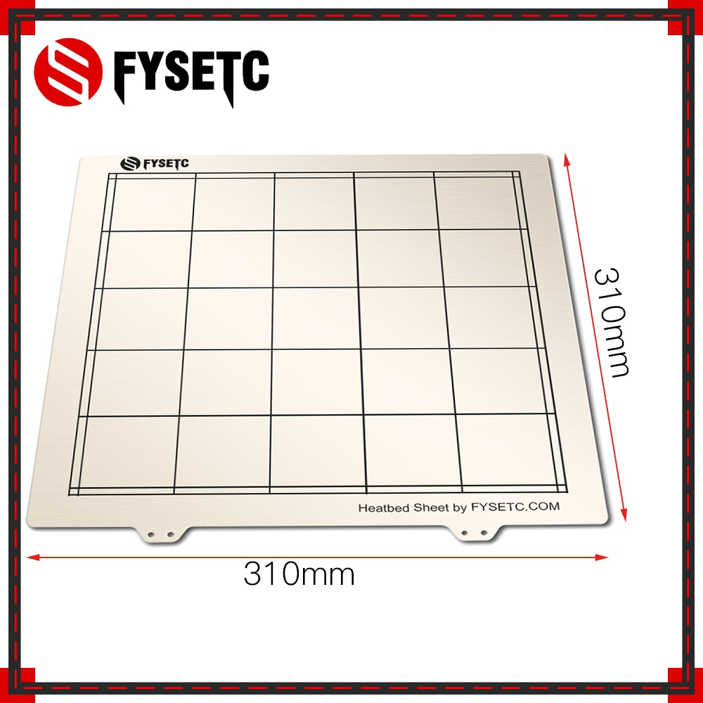 1 Pza 310*310mm plataforma de cama térmica de acero de resorte impresión 3D Placa de construcción para Creality CR10 CR-10/10 S 3D impresora parte