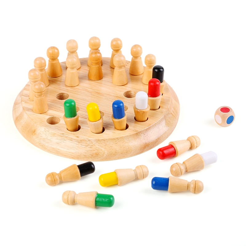 colorful cognition board kids montessori educational toy children wooden jigsaw color match game board puzzles child wooden toy Kids Wooden Memory Match Stick Chess Game Fun Block Board Game Montessori Educational Color Cognitive Ability Toy for Children
