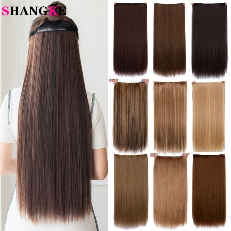 SHANGKE Straight Synthetic 24-Inch Clip in Hair Extensions Heat Resistant Wavy Hairpiece High Temper