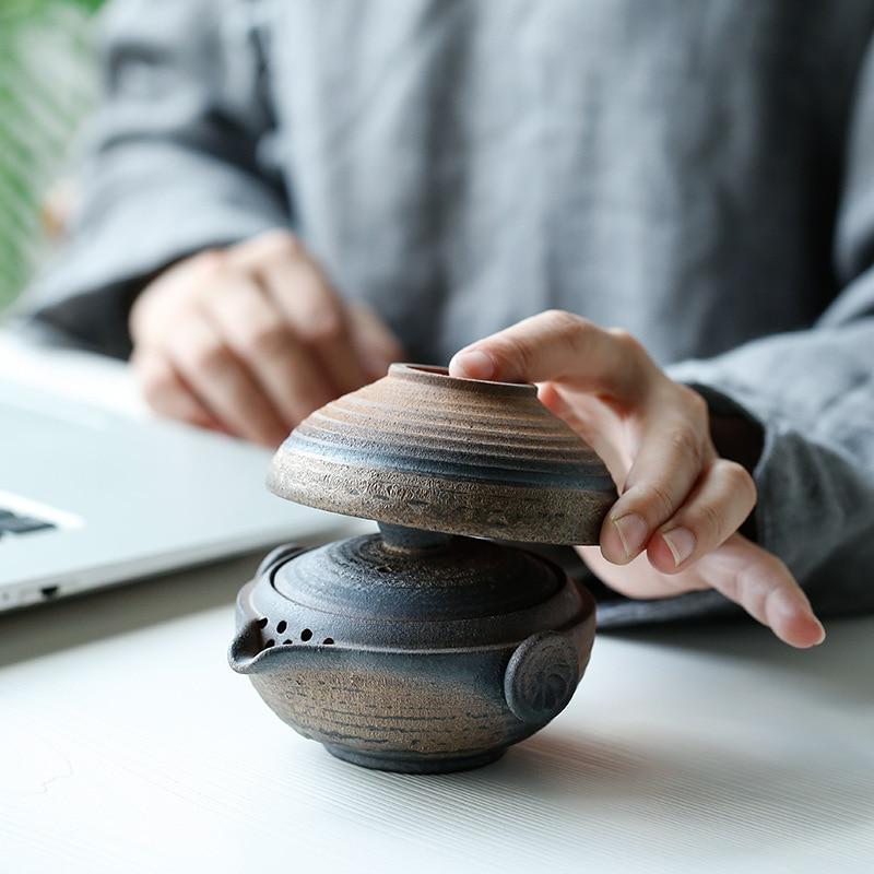 النمط الياباني الخشنة الفخار كوب سريع اليدوية الرجعية الحطب تورين 1 شخص مكتب السفر في الهواء الطلق طقم شاي طقم شاي الكونغ فو