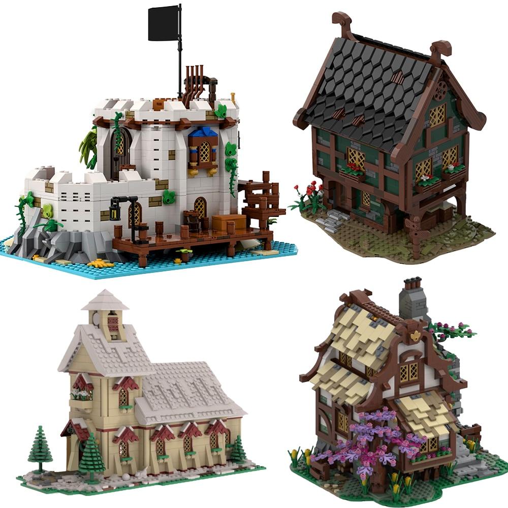 make this medieval castle MOC Medieval Architecture Tree House Blacksmith Windmill House Building Blocks Castle Church Model Bricks Children Kid Toys Gfit