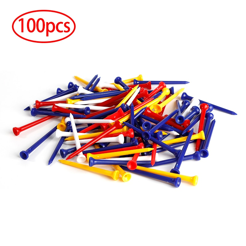 100Pcs 70mm Professional Plastic Golf Ball Tee Mixed Color Golf Holder Practice Training Golf Access