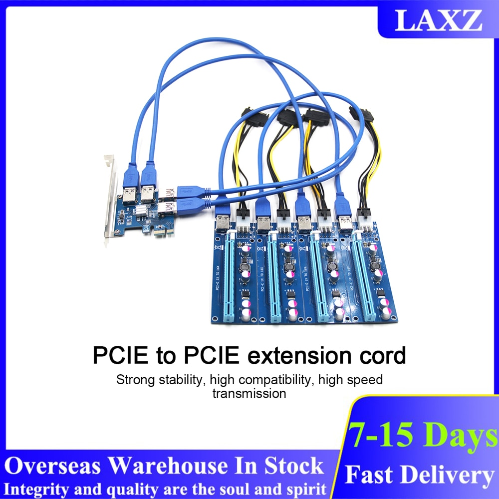 PCI-E إلى USB الناهض مجلس 1 إلى 4 محول 4-port PCI-E إلى USB 3.0 موسع بطاقة PCIe ميناء بطاقة مضاعف للتعدين BTC التعدين