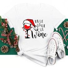 Colored Fa La La La La Wine T-shirt Cute Women Winter Christmas Gift Tshirt Funny Holiday Drinking T