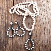 Комплект ювелирных изделий в стиле бохо, длинное ожерелье и серьги с узлом, белый/синий цвет, подарок для женщин, Прямая поставка