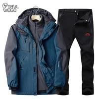 trvlwego men camping hiking 2 in 1 jacket soft shell pants outdoor ski waterproof windproof thicken fleece climbing keep warm