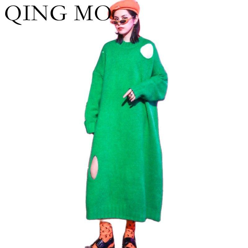 تشينغ مو 2021 الخريف جديد المرأة سترة فستان فضفاض حجم كبير نقية بلوفر ملون سترة الموضة خياطة المرأة سترة ZWL232