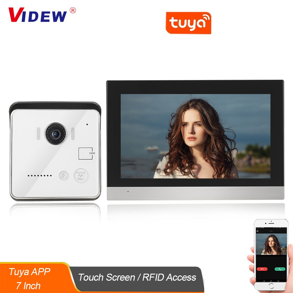 VIDEW 7 Inch IP Video Doorbell Intercom System Tuya Smart with Camera and 7 Inch Touch Screen Monitor RFID Access for Home Villa
