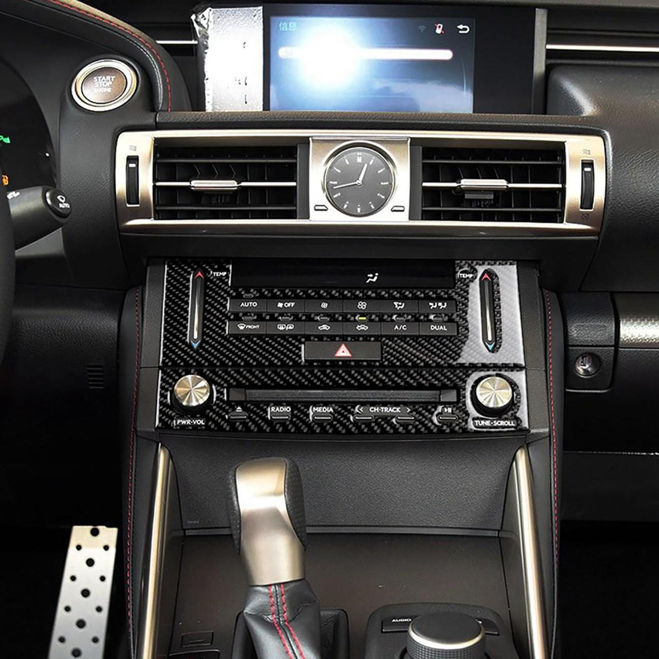 2 PCS Carbon Fiber Center Console Dashboard CD Media Navigation Panel Frame Decal Cover Trim for Lexus IS250