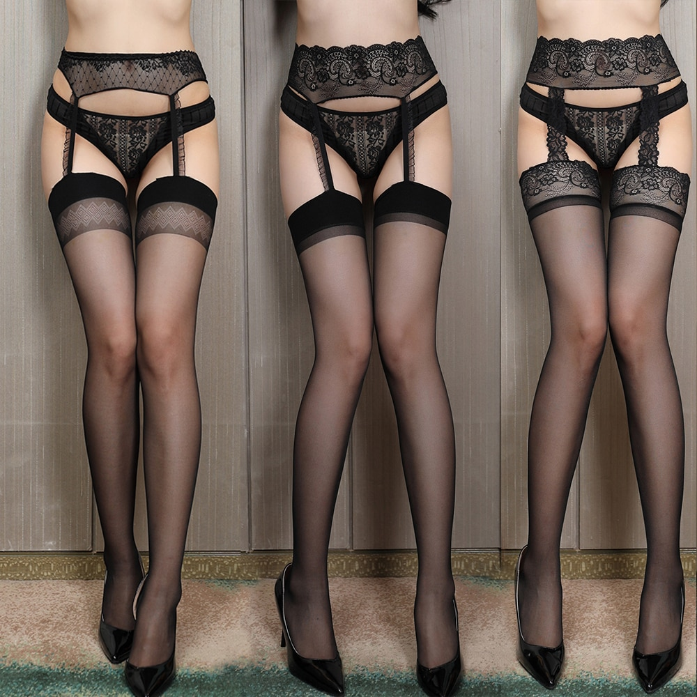 Women Sexy Body Stocking Lace Soft Top Thigh High Stockings + Suspender Garter Belt Over Knee Pantyhose Floral Fit Below 60kg