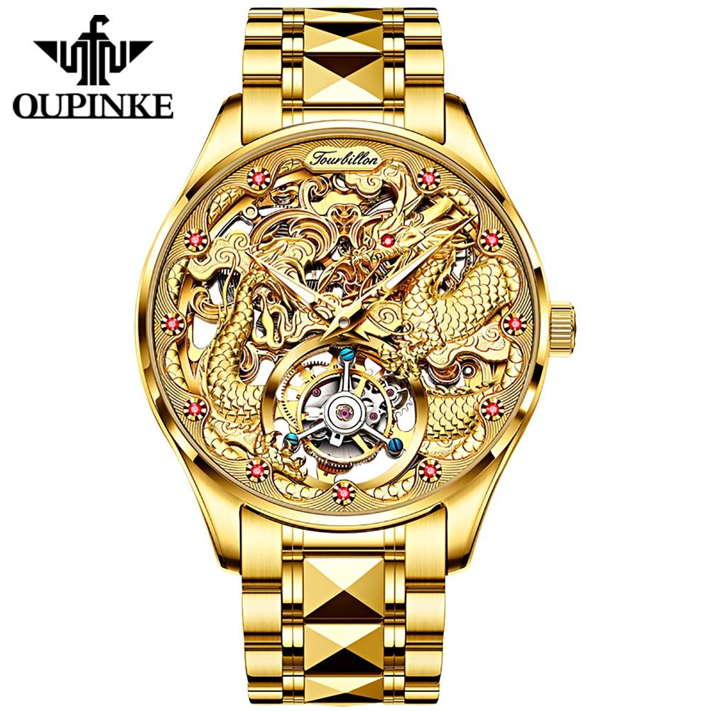 OUPINKE أعلى العلامة التجارية الفاخرة الرجال الساعات الميكانيكية الذهب توربيون ووتش الياقوت للماء الهيكل العظمي ساعة اليد Relogio Masculino