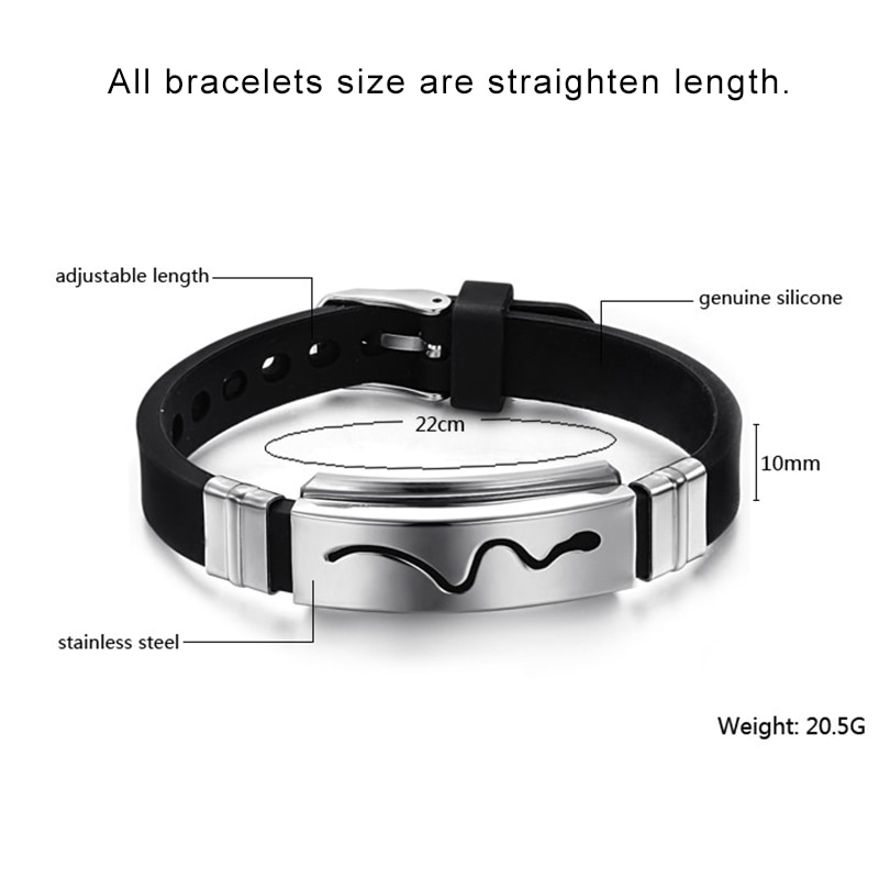 Silicone Rubber Bangles Trendy Men's Jewelry Black Hollow Stainless Steel Snake Design Cool Bracelets Adjustable