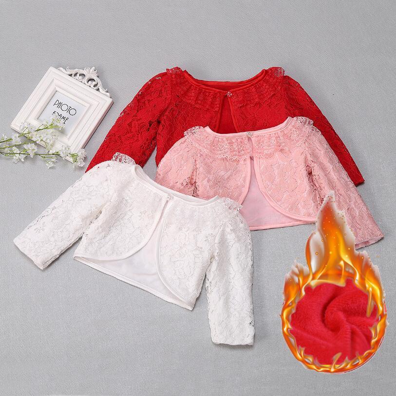 Neugeborenen Baby Spitze Schal Warm Verdicken Mantel Mädchen Lange Ärmeln taufe Mäntel Baby Infant Jacken Weiß Rosa Rot Winter Tops