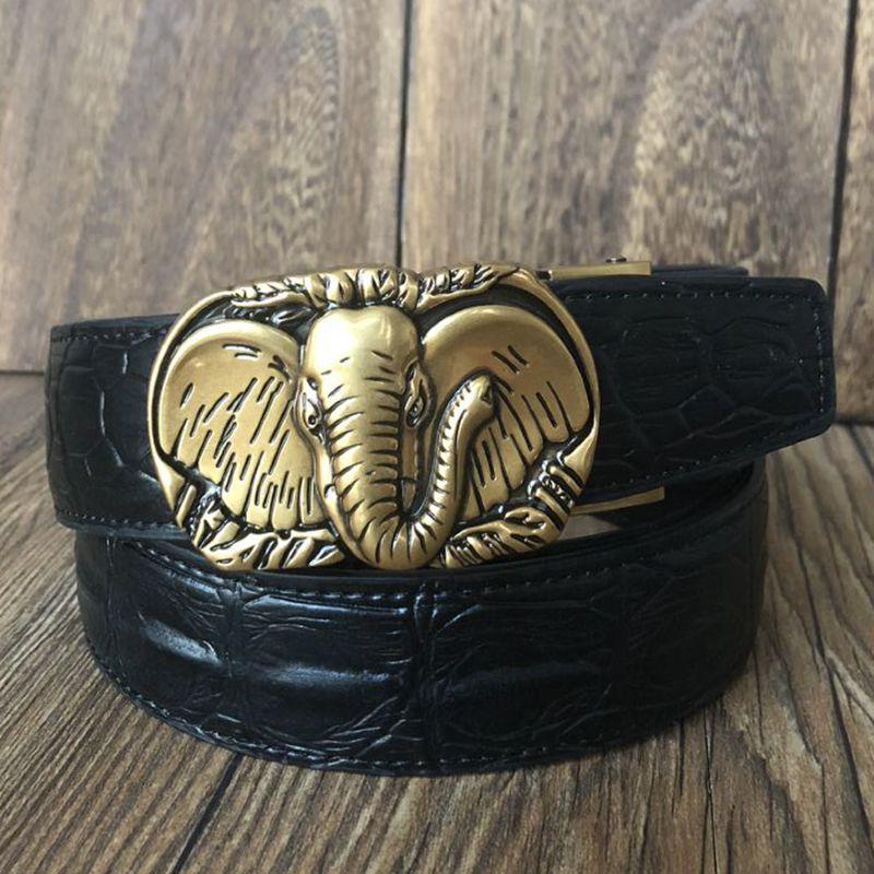 Mode gürtel Elefanten modell automatische schnalle breiten gürtel männer cowboy designer gürtel krokodil stil frauen jeans hot