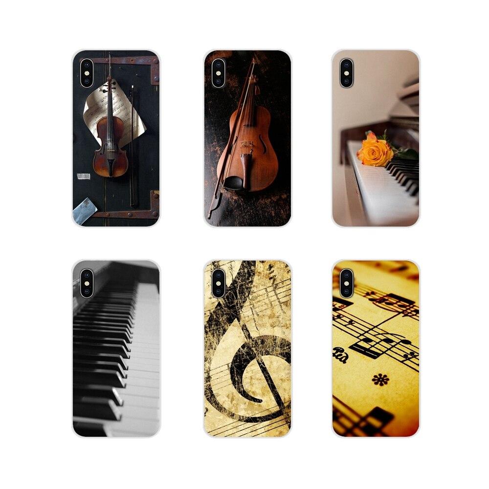 Per Samsung A10 A30 A40 A50 A60 A70 M30 Galaxy Note 2 3 4 5 8 9 10, PIÙ Morbido caso di TPU Musicale Note di pianoforte Violino Musica Classica