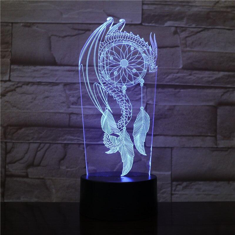 Valentine vento sinos interruptor da lâmpada de mesa apanhador sonho 3d gota toque luz da noite quarto festa decoração lâmpada meninas presente natal