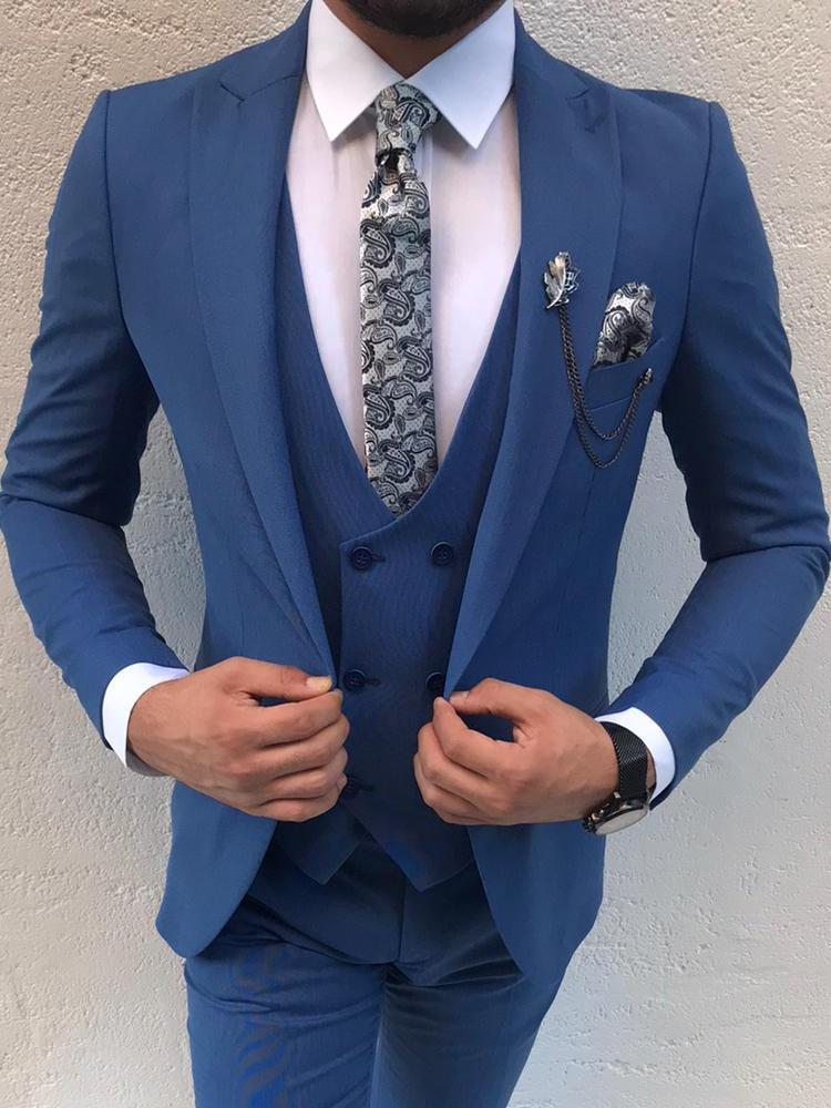 بدلة رجالية ضيقة بدلة سهرة لحفلات الزفاف من 3 قطع سترة رجال أعمال + بنطلون + صدرية