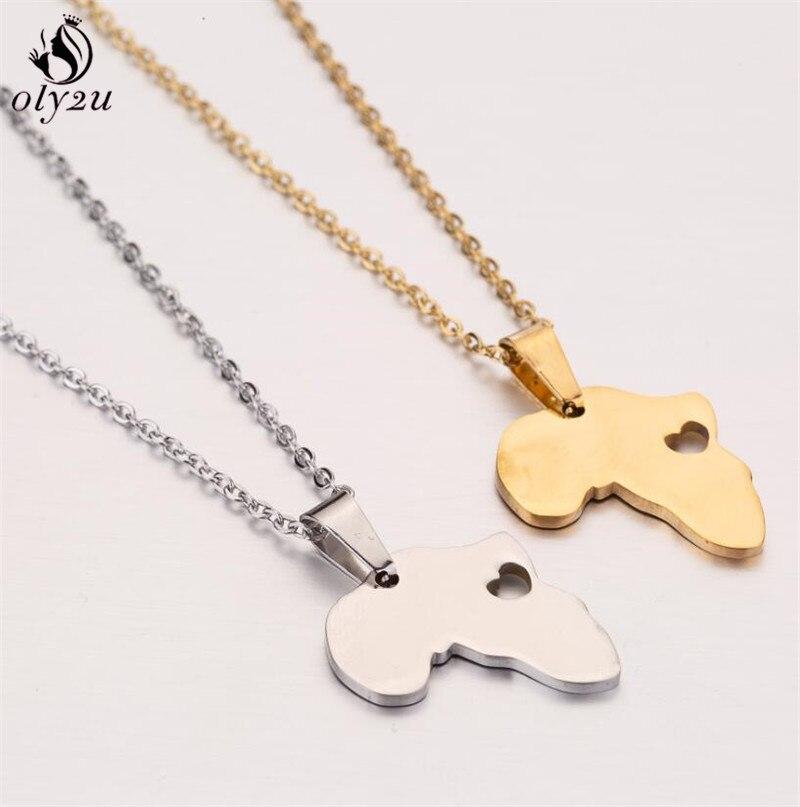 Oly2u contorno mapa collar de joyas de acero inoxidable para los hombres...