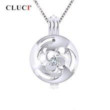 Cluci prata 925 zicron gaiola pingente para mulher shamrock flor em forma de prata 925 sterling pearl medalhão pingentes sc335sb