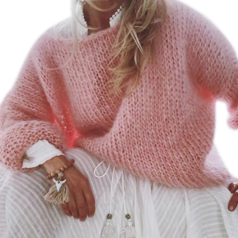 Women Lantern Long Sleeve Sweater Fluffy Mohair Chunky Knit Loose Jumper Tops New 2021