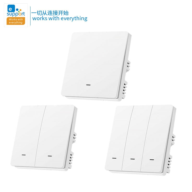 eWeLink WiFi + RF433 Smart Switch UK 220V Wireless Remote Control Push Button Wall Light Switches Compatible Alexa Google Home