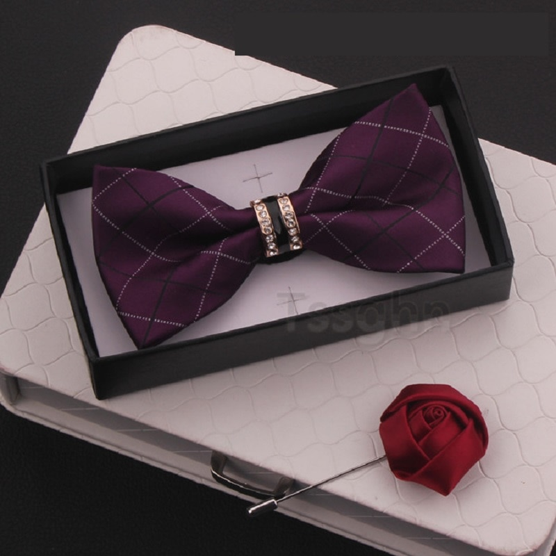 2020 New Fashion Men's Bow Ties Wedding Double Fabric Plaid Bow Tie Banquet Host Show Formal Butterfly Tie with Gift Box Corsage
