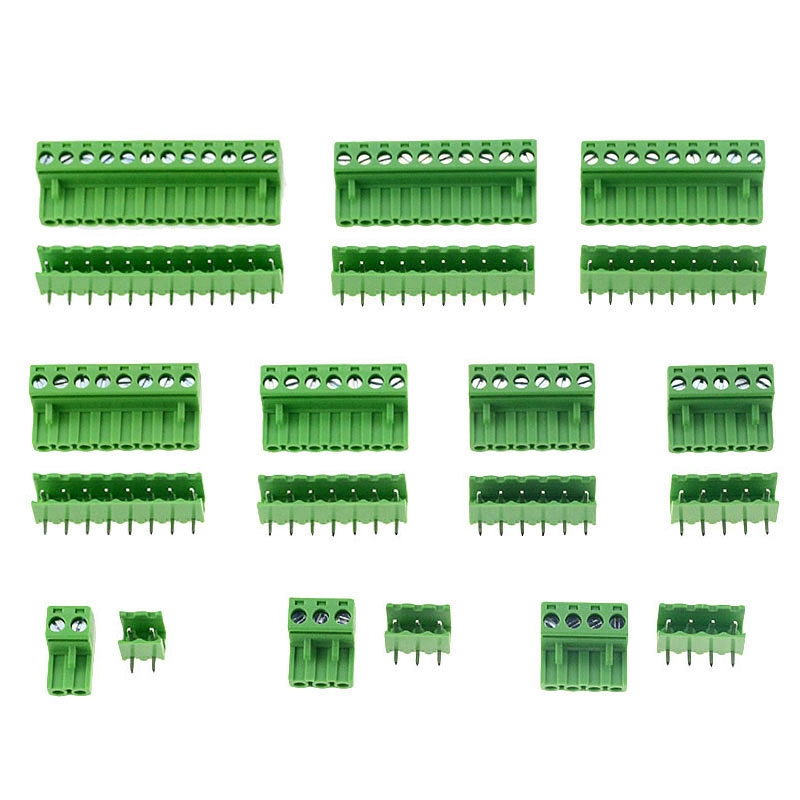 10 teile/lose 3,81 MM Pitch PCB Steckbare Terminal Block Anschluss 2/3/4/5/6/ 7/8/9/10P Gebogene nadel 15EDG Pin Kupfer Universal Scre