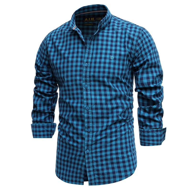 Мужская приталенная рубашка в клетку, черная хлопковая рубашка с длинным рукавом, Весна 100%