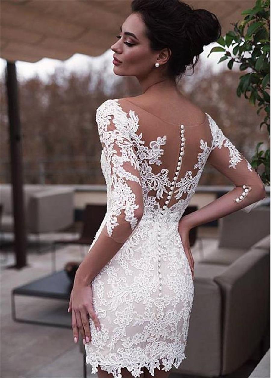 MYYBLE-فستان زفاف قصير بنصف كم ، ملابس زفاف رخيصة ، مصنوعة حسب الطلب ، مجموعة 2020