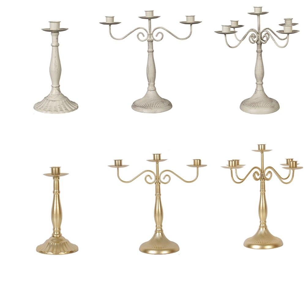 Metal chapeado castiçal retro 3-braços candelabros para casamento prop luz de velas jantar hotel decoração de casa