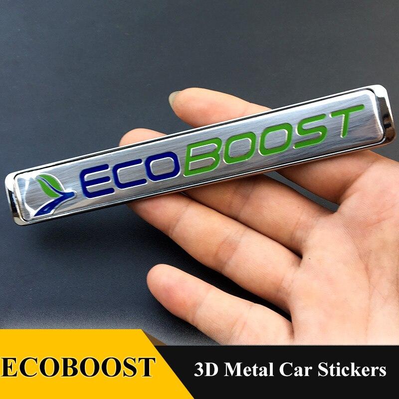 1 Uds. Pegatina 3D Ecoboost emblema etiqueta accesorios coche estilo para Ford Fiesta Escort Mondeo Taurus Ecosport Kuga Edge