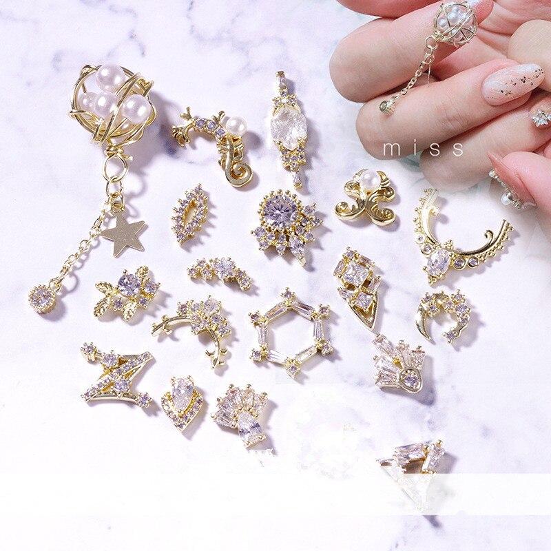 Pegamento para uñas de alta calidad, nuevo, pegamento para uñas, cadena de bolas de diamante, Serie de zirconia, diamantes de imitación, artículos decorativos DIY para uñas, accesorios