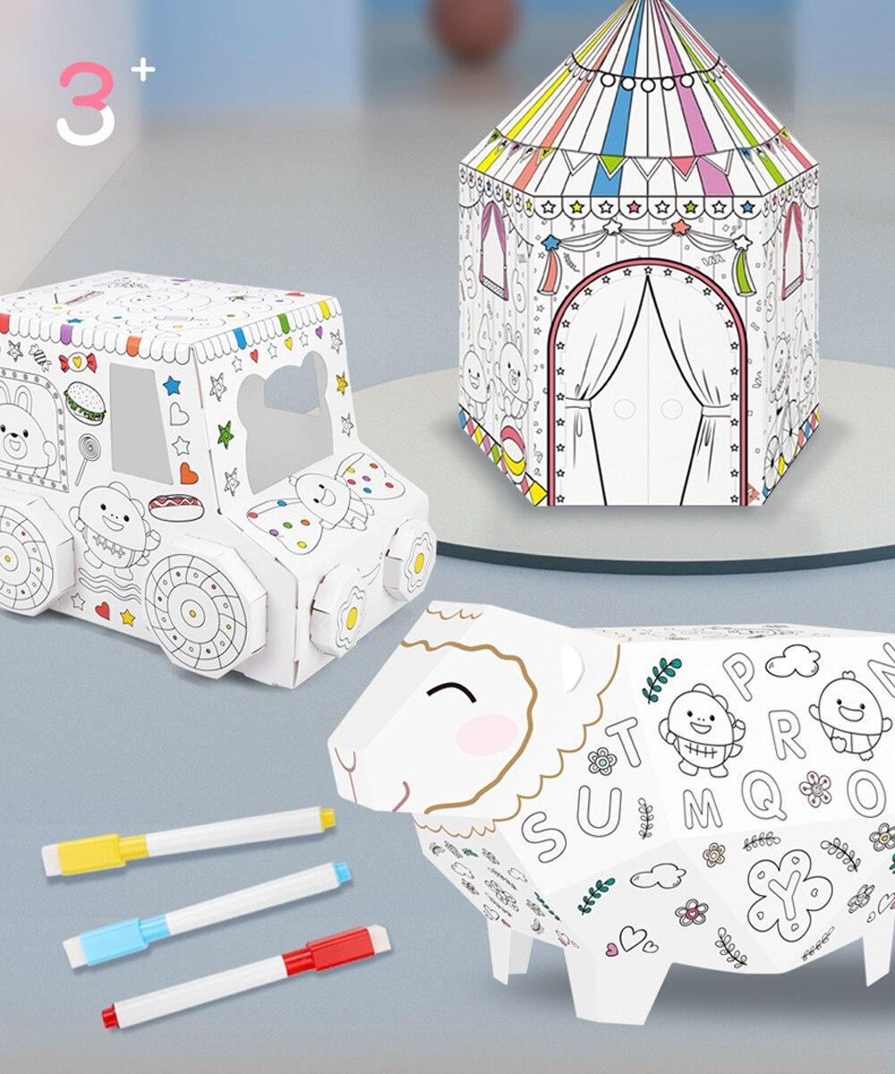 Casa de montaje de Graffiti pintada a mano DIY para niños, casa de papiroflexia 3D de papel ensamblado, juguetes interactivos educativos para bebés, juguetes de regalo